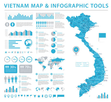 Vietnam Map - Detailed Info Graphic Vector Illustration