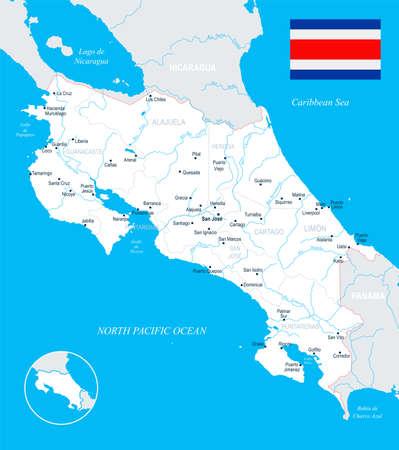 Costa Rica-kaart en vlag - hoog gedetailleerde vectorillustratie