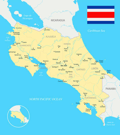 511 san jose costa rica stock illustrations cliparts and royalty costa rica map and flag high detailed vector illustration gumiabroncs Gallery