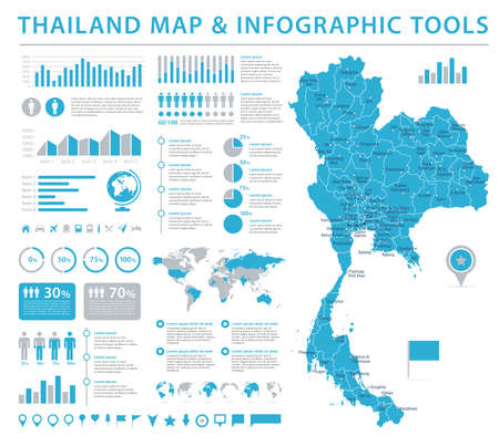 Thailand Map - Detailed Info Graphic Vector Illustration