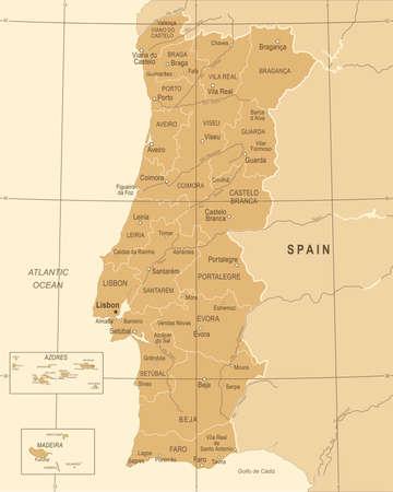 Portugal Map - Vintage Detailed Vector Illustration