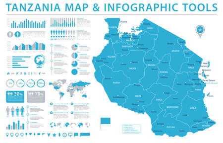 Tanzania Map - Detailed Info Graphic Vector Illustration