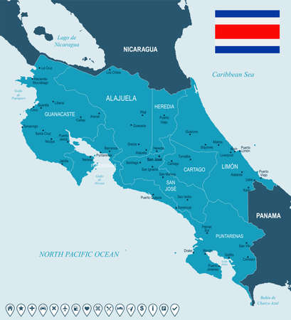 Costa Rica map and flag - High Detailed Vector Illustration
