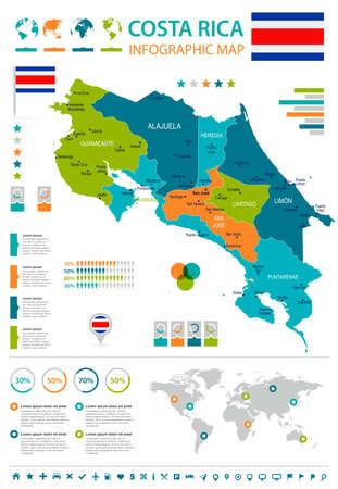 コスタリカのインフォグラフィックマップとフラグ-高詳細ベクトルイラスト
