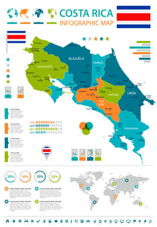 Costa Rica infographic map and flag - High Detailed Vector Illustration
