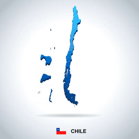 Chile map and flag - High Detailed Vector Illustration