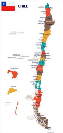 チリの地図と国旗 - 高詳細なベクトル イラスト