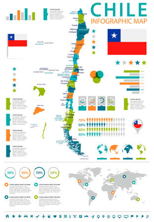 Chile infographic map and flag - High Detailed Vector Illustration