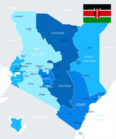 Kenya map and flag - High Detailed Vector Illustration Çizim