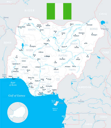 Nigeria map and flag - High Detailed Vector Illustration