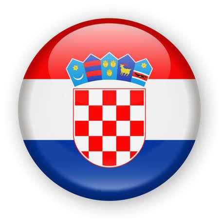 クロアチア国旗ベクトル丸いアイコン ・ イラスト