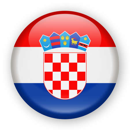 크로아티아 플래그 벡터 라운드 아이콘 - 그림