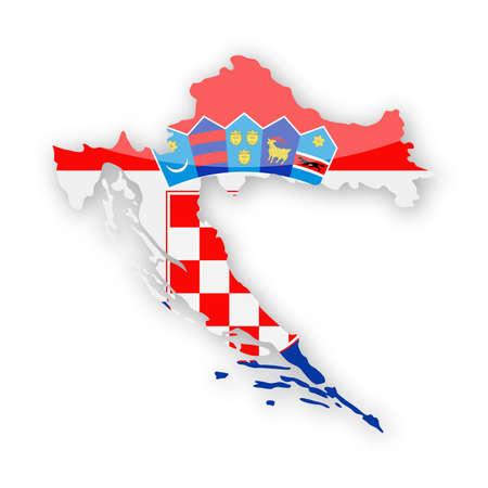 Croatia Flag Country Contour Vector Icon - Illustration