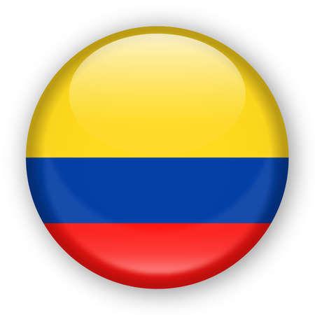 콜롬비아 플래그 벡터 라운드 아이콘 - 그림