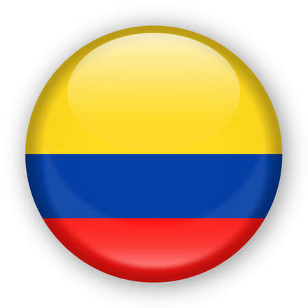 Vlag van Colombia Vector ronde pictogram - illustratie Stock Illustratie