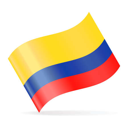 Colombia Flag Vector Waving Icon - Illustration