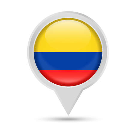 Colombia Flag Round Pin Vector Icon - Illustration