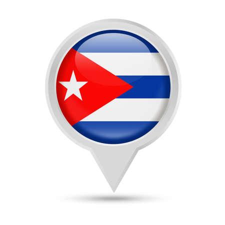 Cuba Flag Round Pin Vector Icon - Illustration