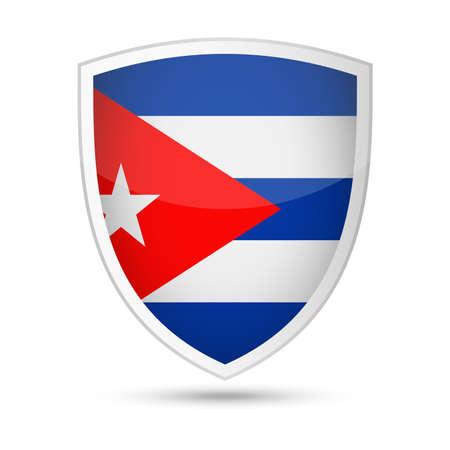 Cuba Flag Vector Shield Icon - Illustration