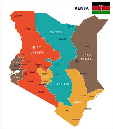 Kenya map and flag - High Detailed Vector Illustration Vettoriali