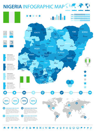 Nigeria infographic map and flag - High Detailed Vector Illustration Illustration