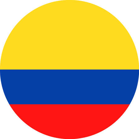 Official colors of Colombia Flag Vector Round Flat Icon - Illustration