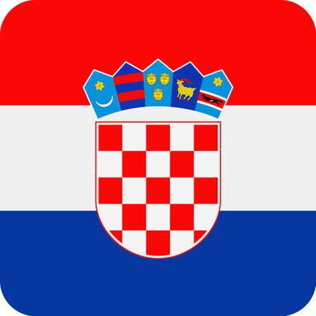 クロアチア国旗ベクトル広場フラット アイコン ・ イラスト