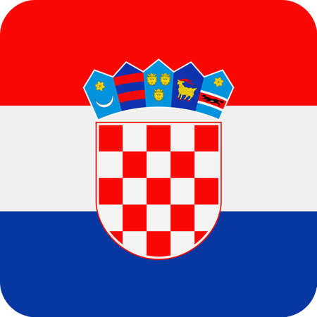 Croatia Flag Vector Square Flat Icon - Illustration