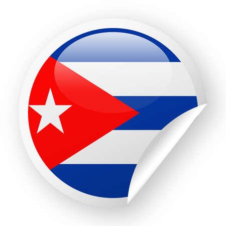 Cuba Flag Vector Round Corner Paper Icon - Illustration Illustration