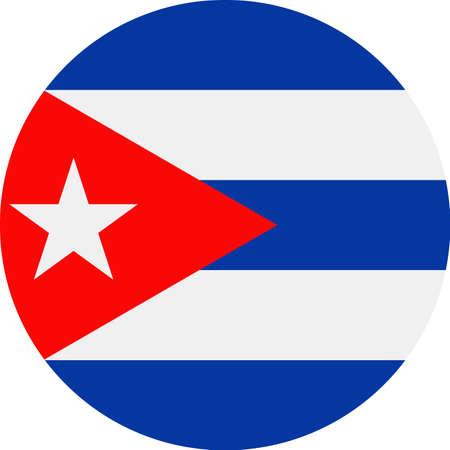 Cuba Flag Vector Round Flat Icon - Illustration