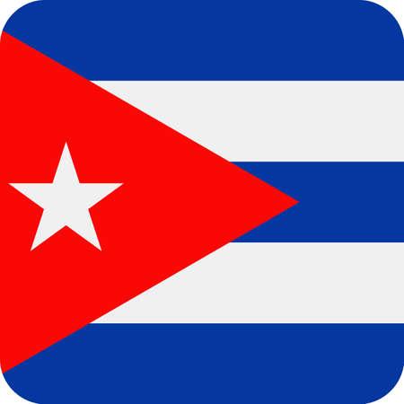 Cuba Flag Vector Square Flat Icon - Illustration