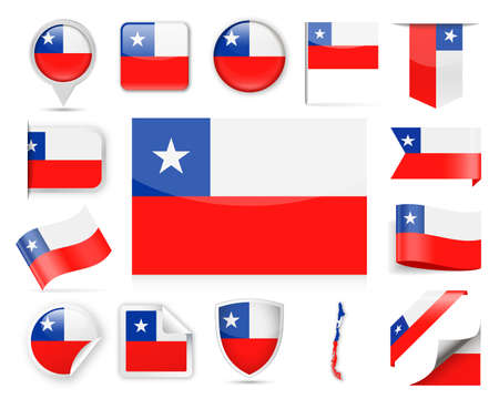 Chile Flag Set - Vector Illustration