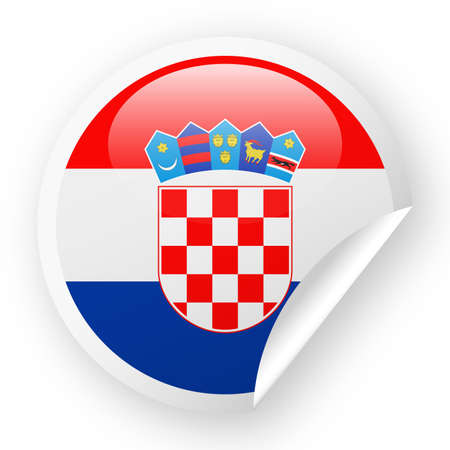 Official colors of Croatia Flag Vector in Round Corner Paper Icon - Illustration