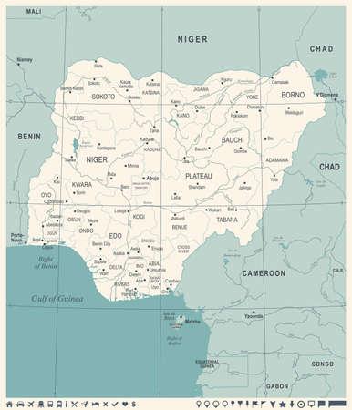 Nigeria Map -Vintage High Detailed Vector Illustration