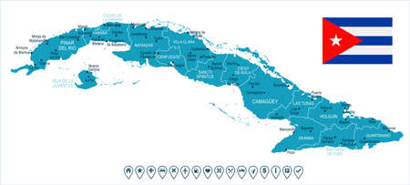 Cuba map and flag - High Detailed Vector Illustration