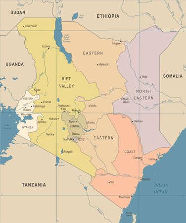 Kenya Map - Vintage High Detailed Vector Illustration Иллюстрация