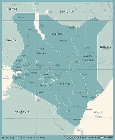Kenya Map -Vintage High Detailed Vector Illustration Çizim