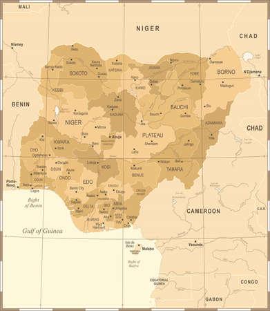 Nigeria Map - Vintage High Detailed Vector Illustration Illustration