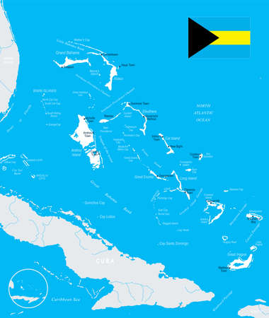 The Bahamas map and flag - High Detailed Vector Illustration Illustration