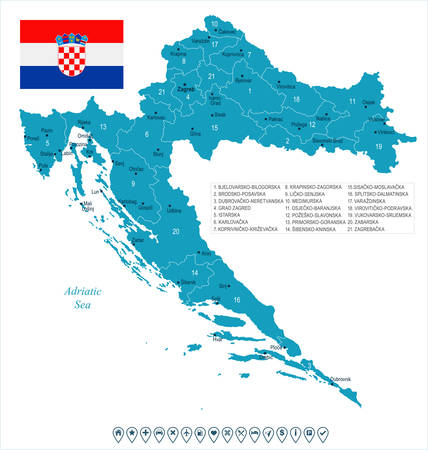 クロアチアの地図と旗 - 高詳細ベクトルイラスト  イラスト・ベクター素材