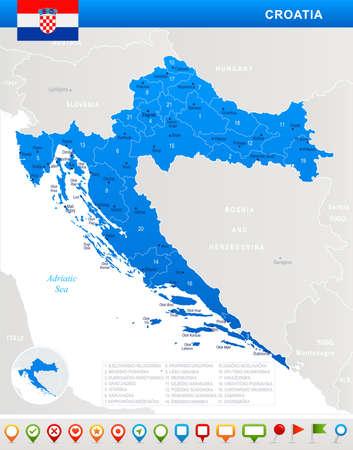 クロアチアの地図と旗 - 非常に詳細なベクトルイラスト  イラスト・ベクター素材