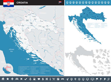 Croatia map and flag - High Detailed Vector Illustration Imagens - 90514160