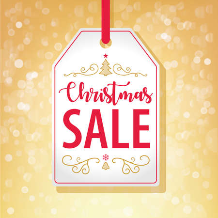 Christmas Sale Tag Label on Golden Background - Vector illustration Stock Vector - 90572645