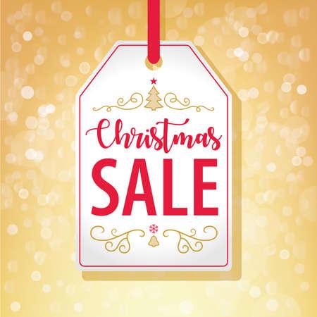 Christmas Sale Tag Label on Golden Background - Vector illustration Illustration