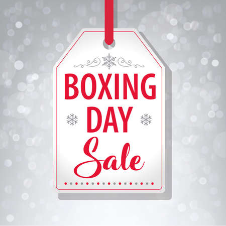 Boxing Day Sale Tag Label on Gray Background - Vector illustration Stock Vector - 90572649