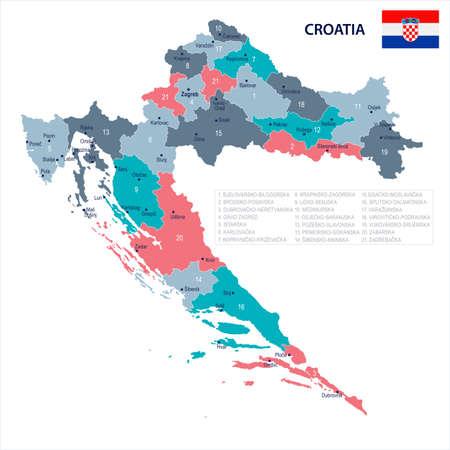 크로아티아지도 및 플래그 - 높은 상세한 벡터 일러스트