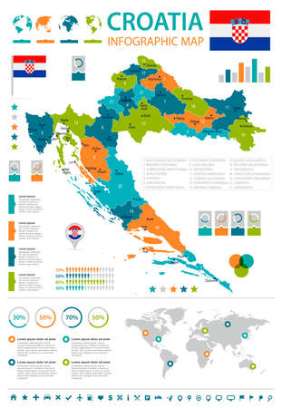Croatia infographic map and flag - High Detailed Vector Illustration Ilustração