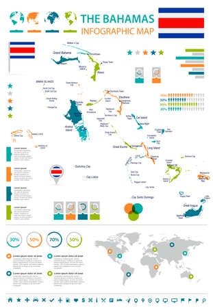 バハマのインフォグラフィックマップとフラグ - 高詳細ベクトルイラスト
