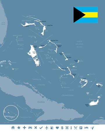 バハマの地図と国旗 - 高詳細なベクトル イラスト