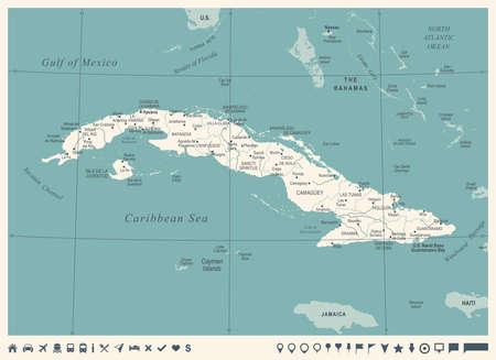 Cuba Map -Vintage High Detailed Vector Illustration Ilustrace